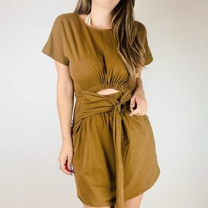 Free People brown cutout belted sinched Mini Dress